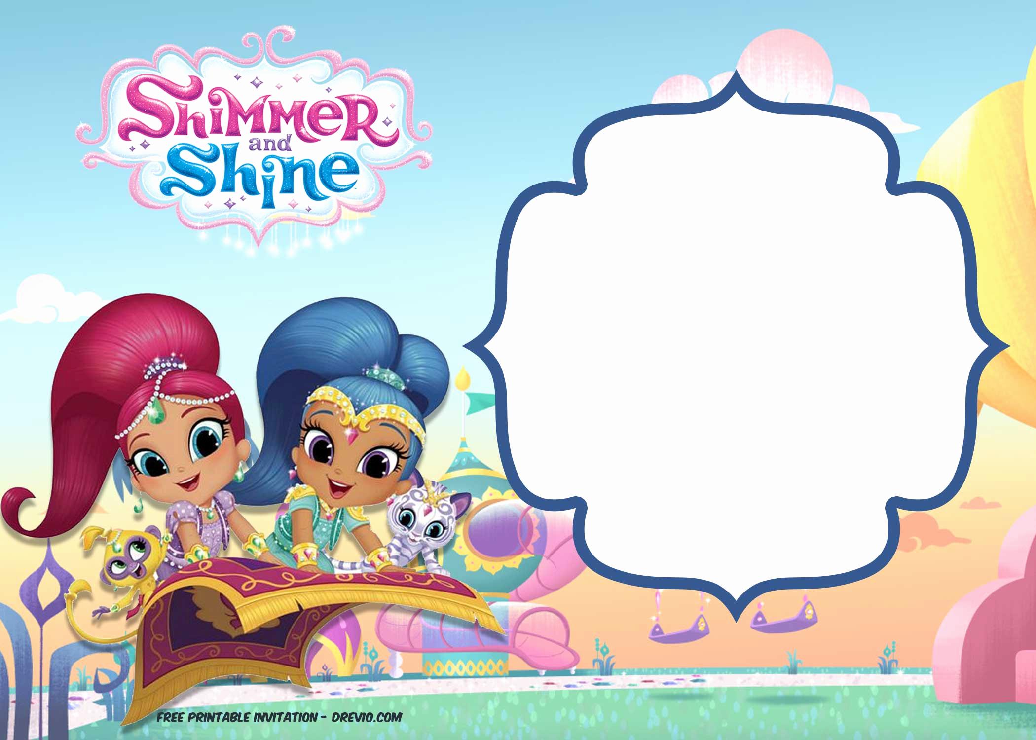 Shimmer and Shine Birthday Invitation Inspirational Free Shimmer and Shine Invitation Template