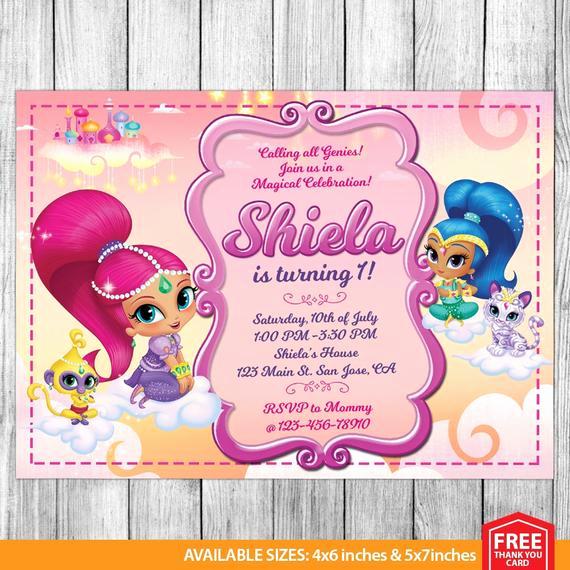 Shimmer and Shine Birthday Invitation Inspirational Shimmer and Shine Invitation Shimmer and Shine Birthday