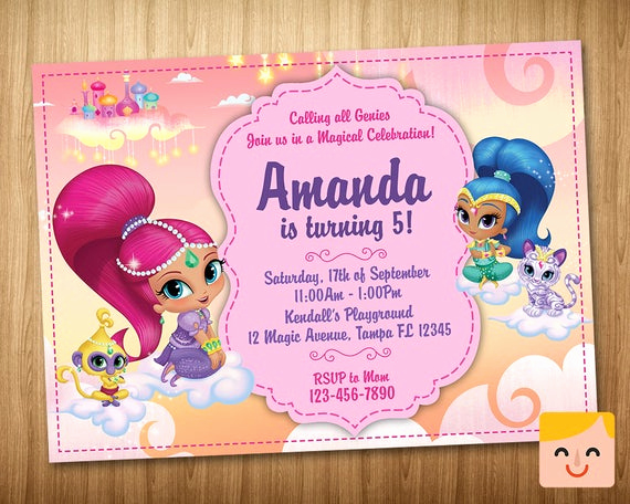 Shimmer and Shine Birthday Invitation Inspirational Shimmer and Shine Invitation Shimmer and Shine by