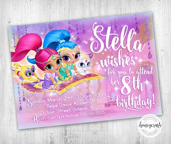 Shimmer and Shine Birthday Invitation Lovely Shimmer and Shine Birthday Invitation Printable Digital File
