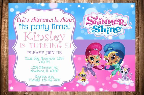Shimmer and Shine Birthday Invitation Luxury Shimmer and Shine Birthday Invitation by Wonderstruckprints