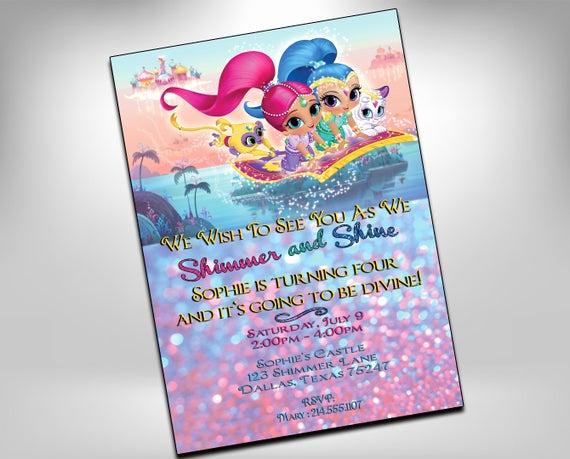 Shimmer and Shine Birthday Invitation Luxury Shimmer and Shine Invitation Shimmer and Shine Birthday