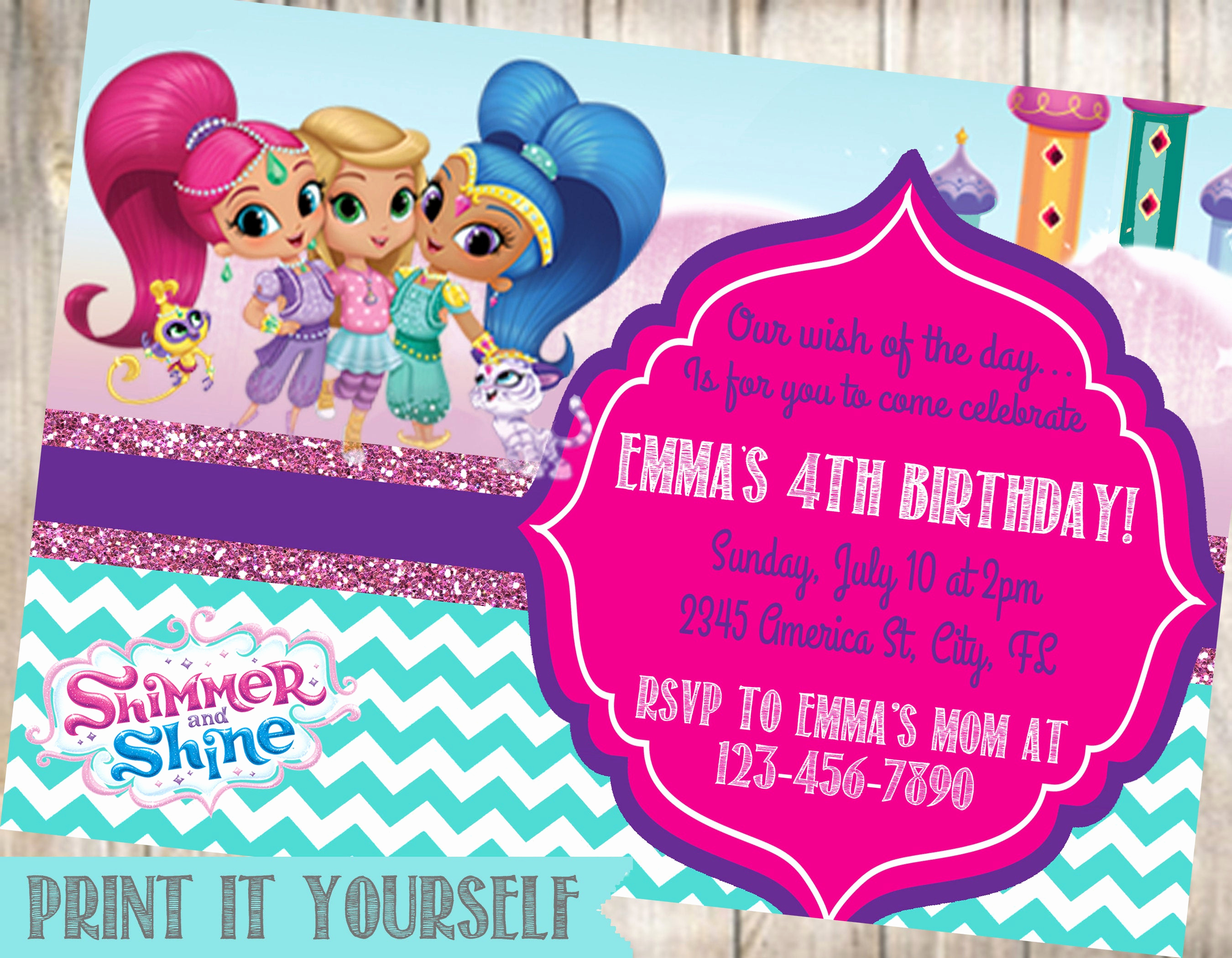 Shimmer and Shine Birthday Invitation Unique Shimmer and Shine Birthday Party Invitation Shimmer and