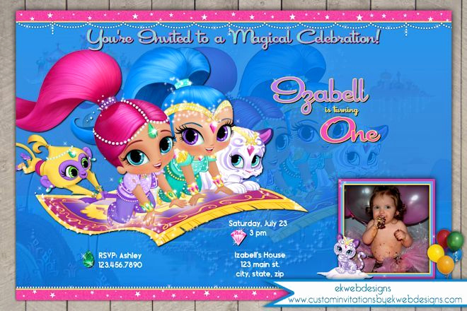 Shimmer and Shine Invitation Template Beautiful Shimmer and Shine Birthday Invitation Nick Jr Photo