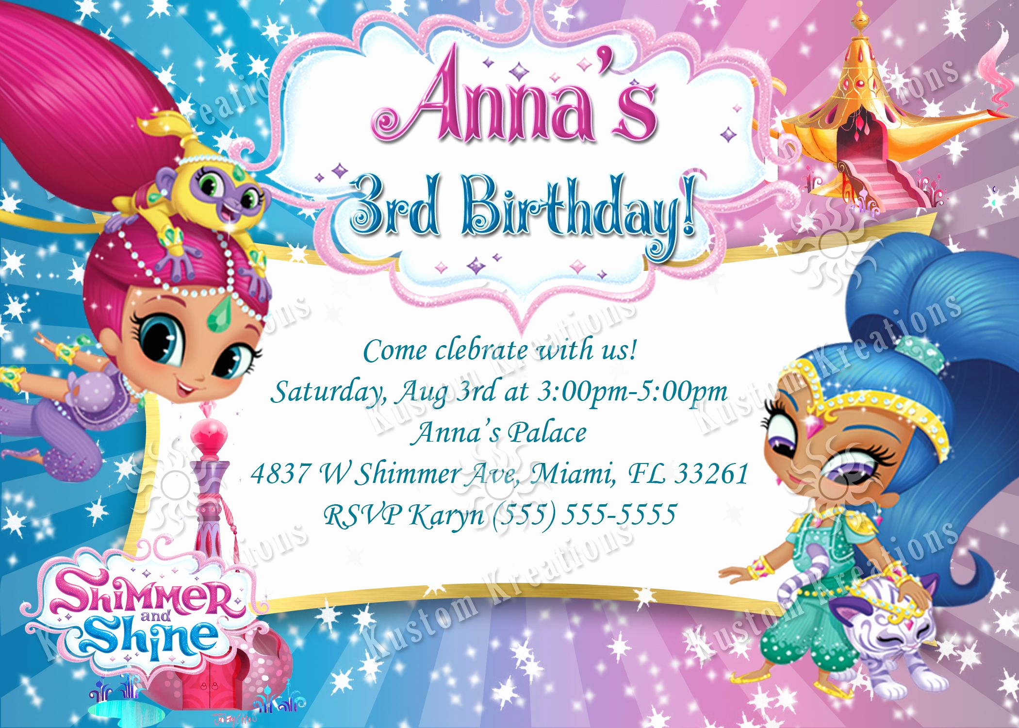 Shimmer and Shine Invitation Template Beautiful Shimmer and Shine Birthday Invitation