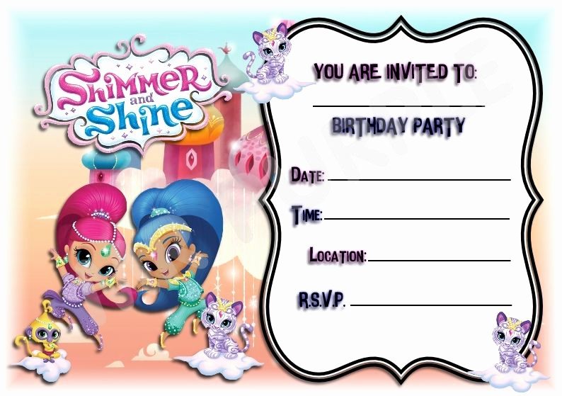 Shimmer and Shine Invitation Template Elegant A5 Kids Childrens Party Invitations X 12 Shimmer and
