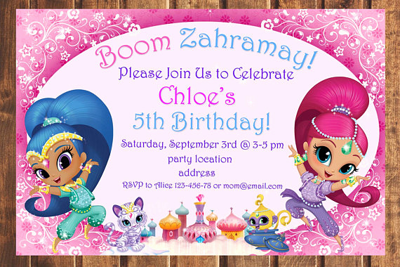 Shimmer and Shine Invitation Template Elegant Sale Shimmer and Shine Birthday Invitation Shimmer and