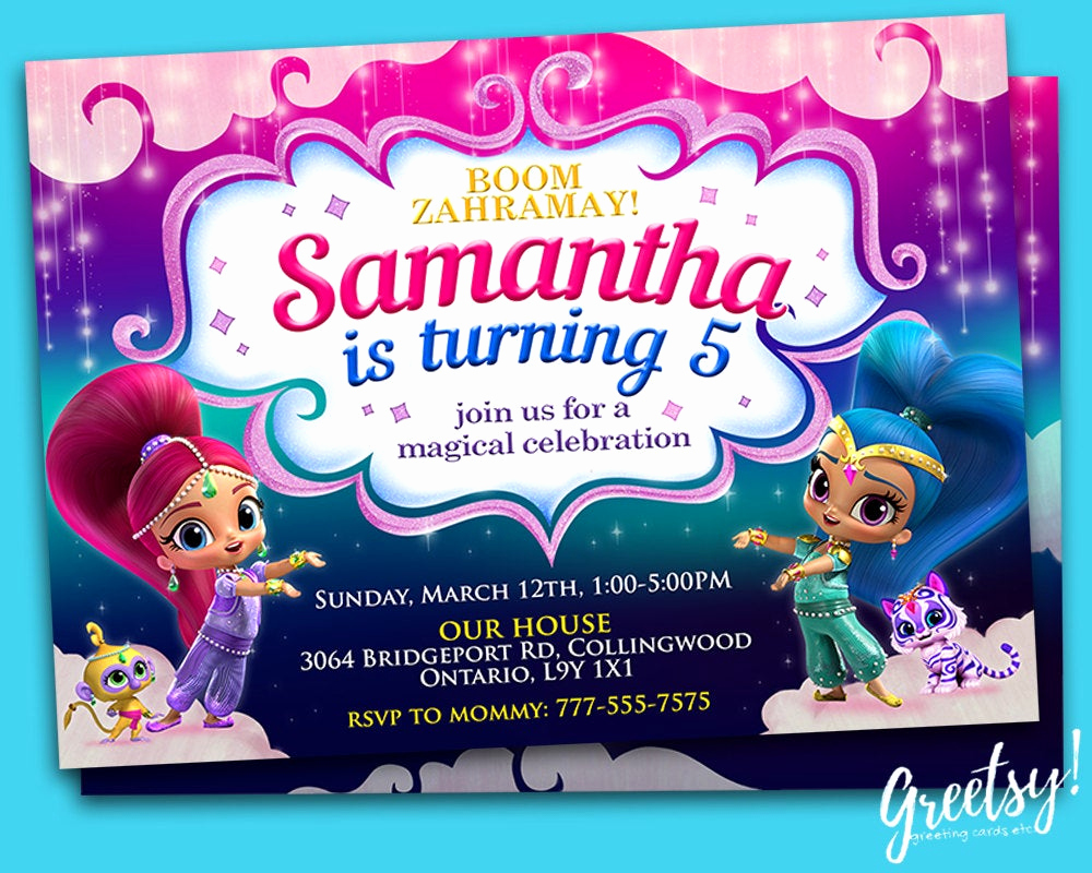 Shimmer and Shine Invitation Template Fresh Shimmer and Shine Invitation Shimmer and Shine Birthday