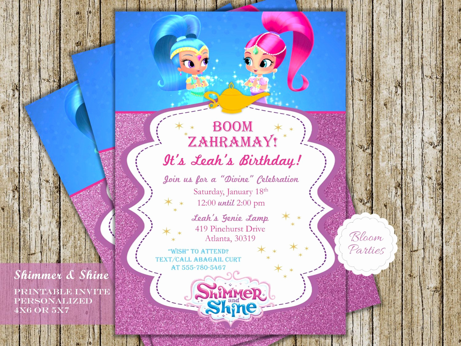 Shimmer and Shine Invitation Template Inspirational Shimmer and Shine Genie Birthday Invitation