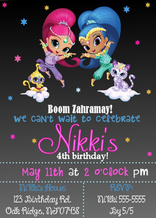 Shimmer and Shine Invitation Template Luxury Pin by Tiffani Cornett On Lillie Party