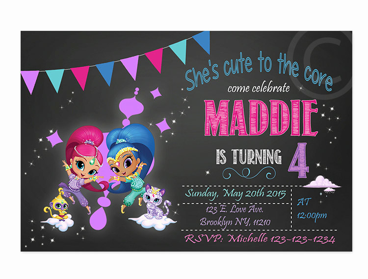 Shimmer and Shine Invitation Template Luxury Shimmer and Shine Invitation Chalkboard Shimmer and Shine