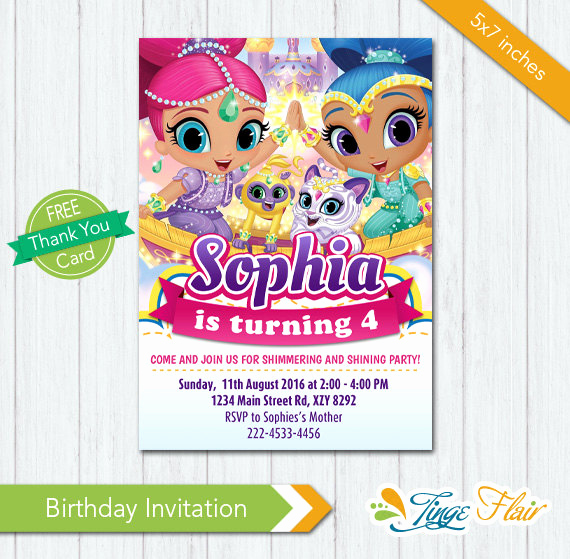 Shimmer and Shine Invitation Template Luxury Shimmer and Shine Invitation Shimmer and Shine Birthday