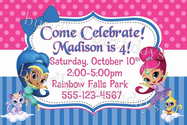 Shimmer and Shine Invitation Template New Shimmer and Shine Birthday Shirt