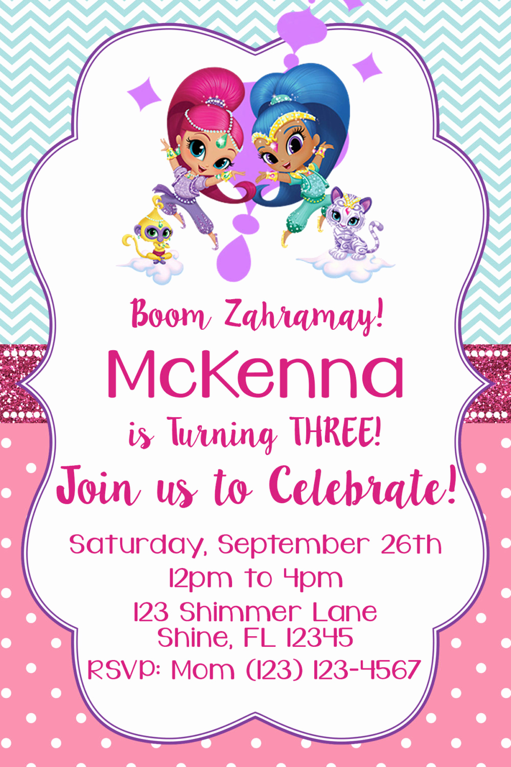 Shimmer and Shine Invitation Template New Shimmer and Shine Invitation Matching Thank You Card