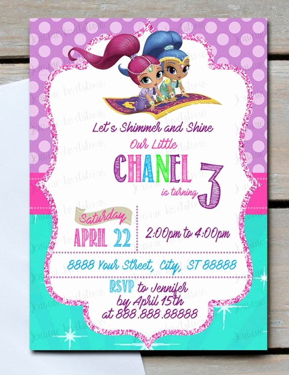 Shimmer and Shine Invitation Template Unique Shimmer and Shine Birthday Invitation 5x7 Purple Pink