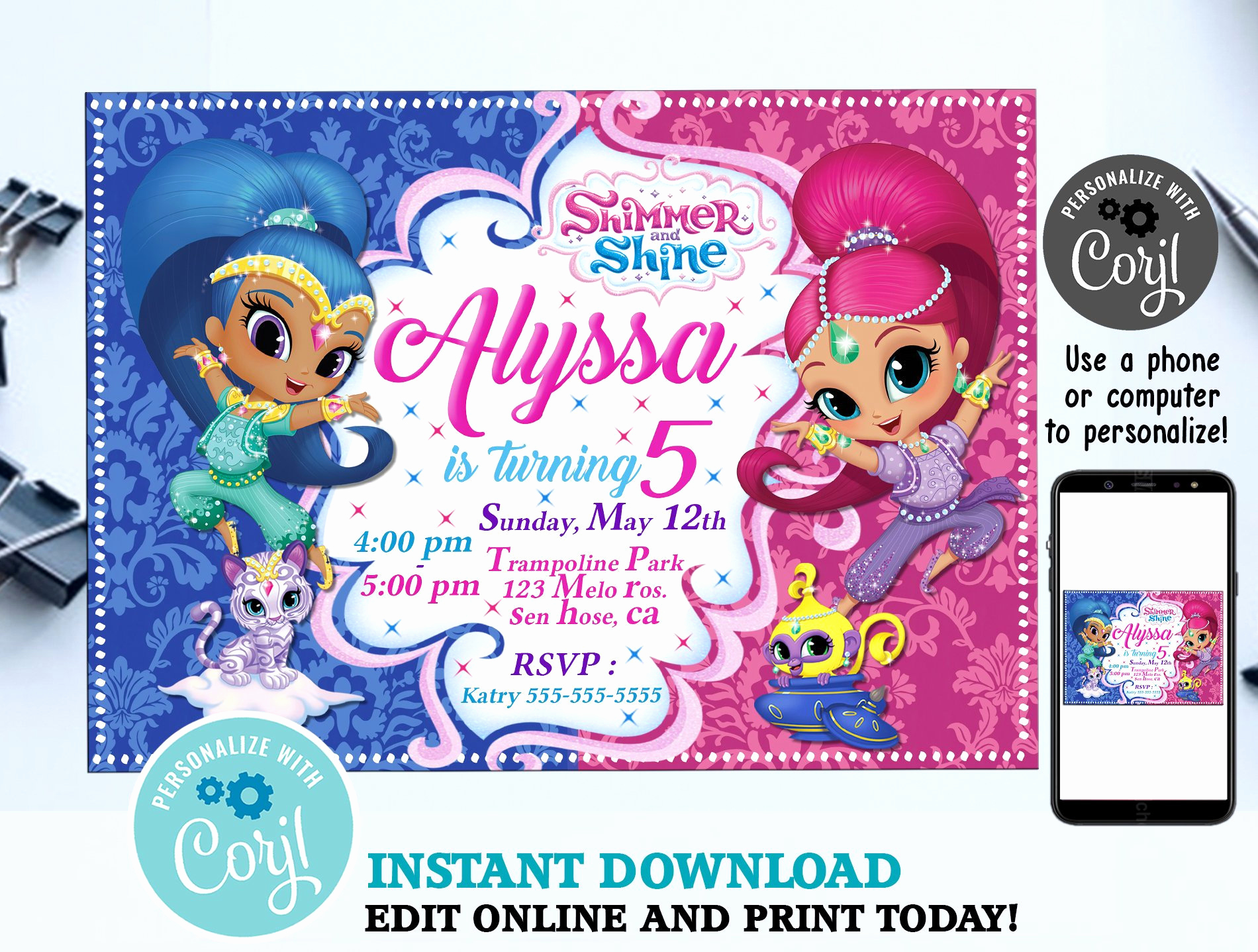 Shimmer and Shine Invitation Template Unique Shimmer and Shine Birthday Invitation Template