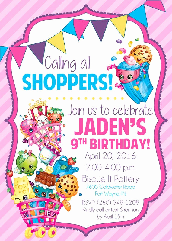 Shopkins Birthday Invitation Template Awesome Shopkins Birthday Party Invitation by Life Purpose On