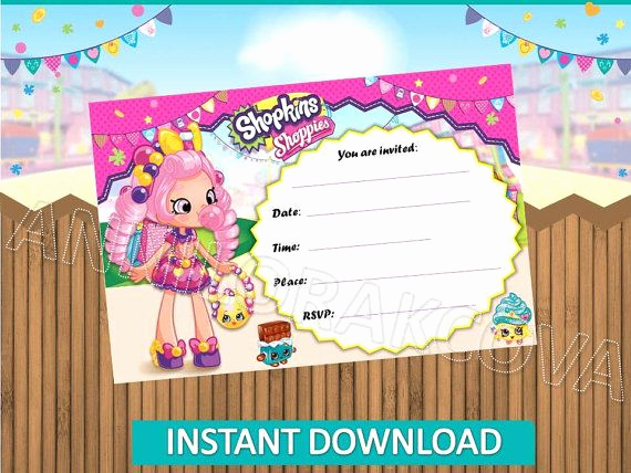Shopkins Birthday Invitation Template Awesome Shopkins Invitations Shopkins Invitations Instant