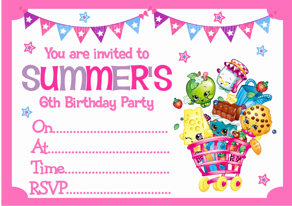 Shopkins Birthday Invitation Template Beautiful Personalised Shopkins Birthday Party Invitations or Thank
