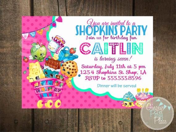 Shopkins Birthday Invitation Template Beautiful Shopkins Inspired Invitation