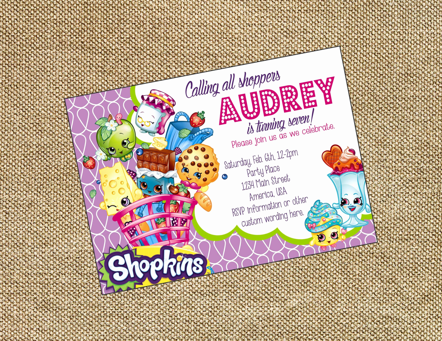 Shopkins Birthday Invitation Template Free Awesome Shopkins Birthday Invitation