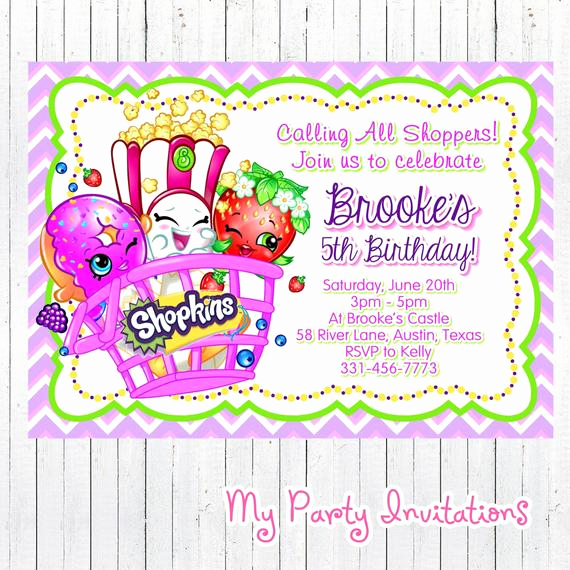Shopkins Birthday Invitation Template Free Awesome Shopkins Birthday Invitation Printable by Mypartyinvitations