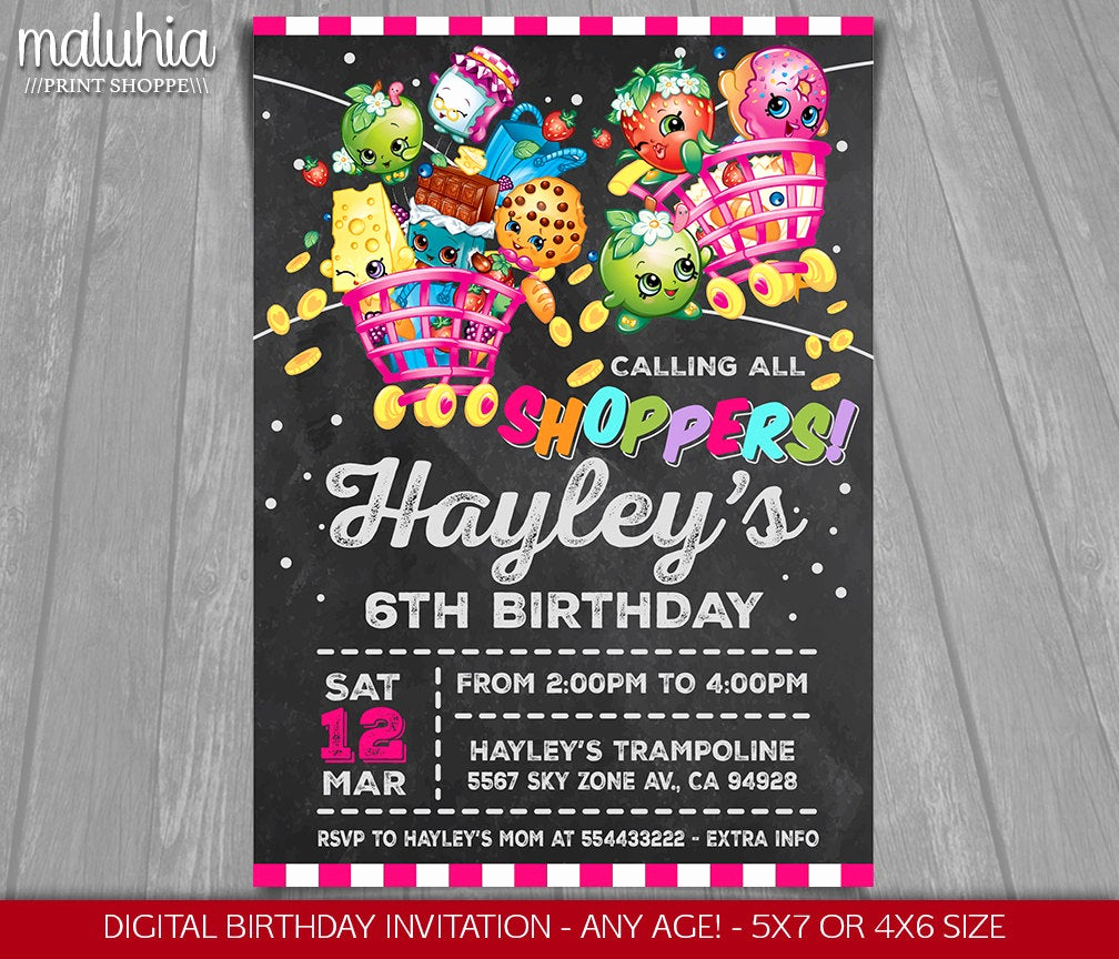 Shopkins Birthday Invitation Template Free Best Of Shopkins Invitation Shopkins Invite Shopkins Birthday