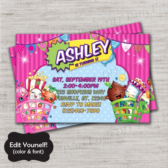 Shopkins Birthday Invitation Template Free Best Of Shopkins Invite Template Diy Diy Template Instant Download
