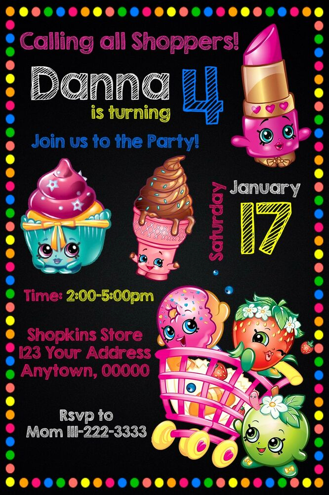 Shopkins Birthday Invitation Template Free Elegant Shopkins Birthday Party Invitations Personalized Custom