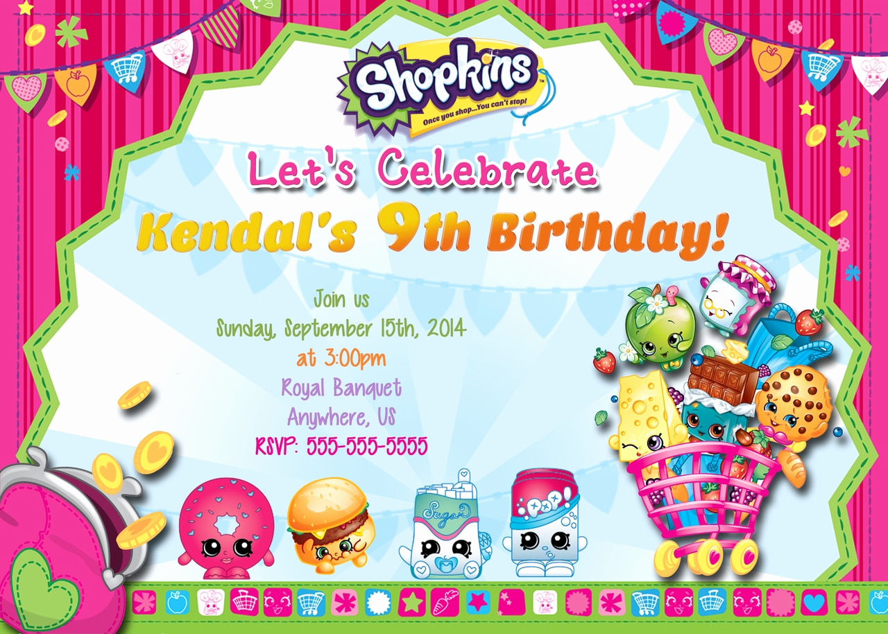 Shopkins Birthday Invitation Template Free Fresh Shopkins Birthday Invitations Partyexpressinvitations