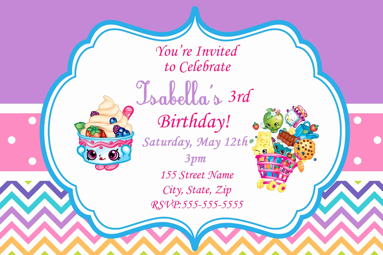 Shopkins Birthday Invitation Template Free Inspirational Shopkins Birthday Invitation Digital Invitations