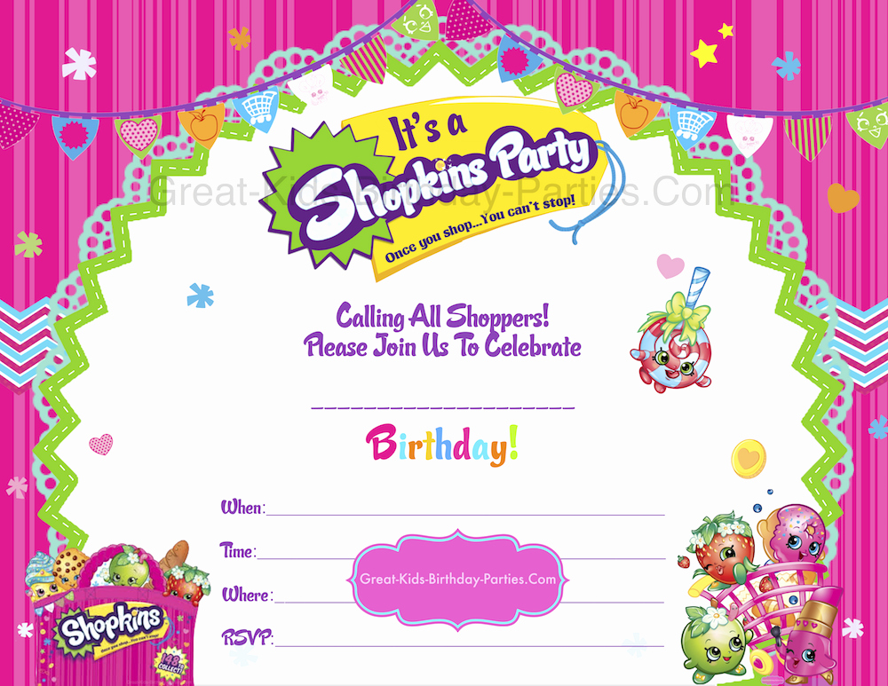 Shopkins Birthday Invitation Template Free Inspirational Shopkins Birthday Party Shopkins Party
