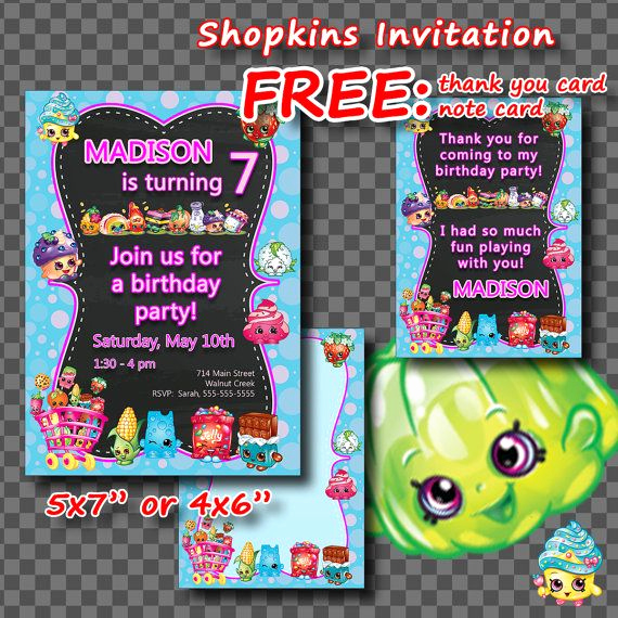 Shopkins Birthday Invitation Template Free Inspirational Shopkins Invitation Thank You Card Note Card Birthday by