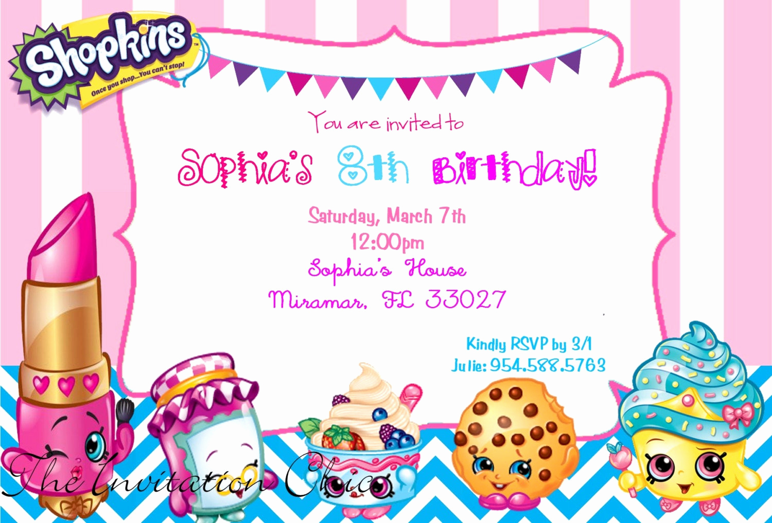 Shopkins Birthday Invitation Template Free Lovely Personalized Girls Shopkins Inspired Party Digital