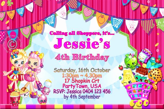 Shopkins Birthday Invitation Template Free Lovely Shopkin Shoppies Birthday Party Invitation Shopkin Birthday