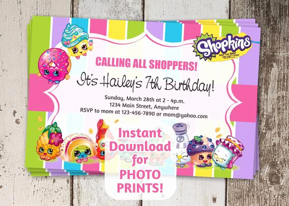 Shopkins Birthday Invitation Template Free Lovely Shopkins Invitation for Birthday Party 4x6 by