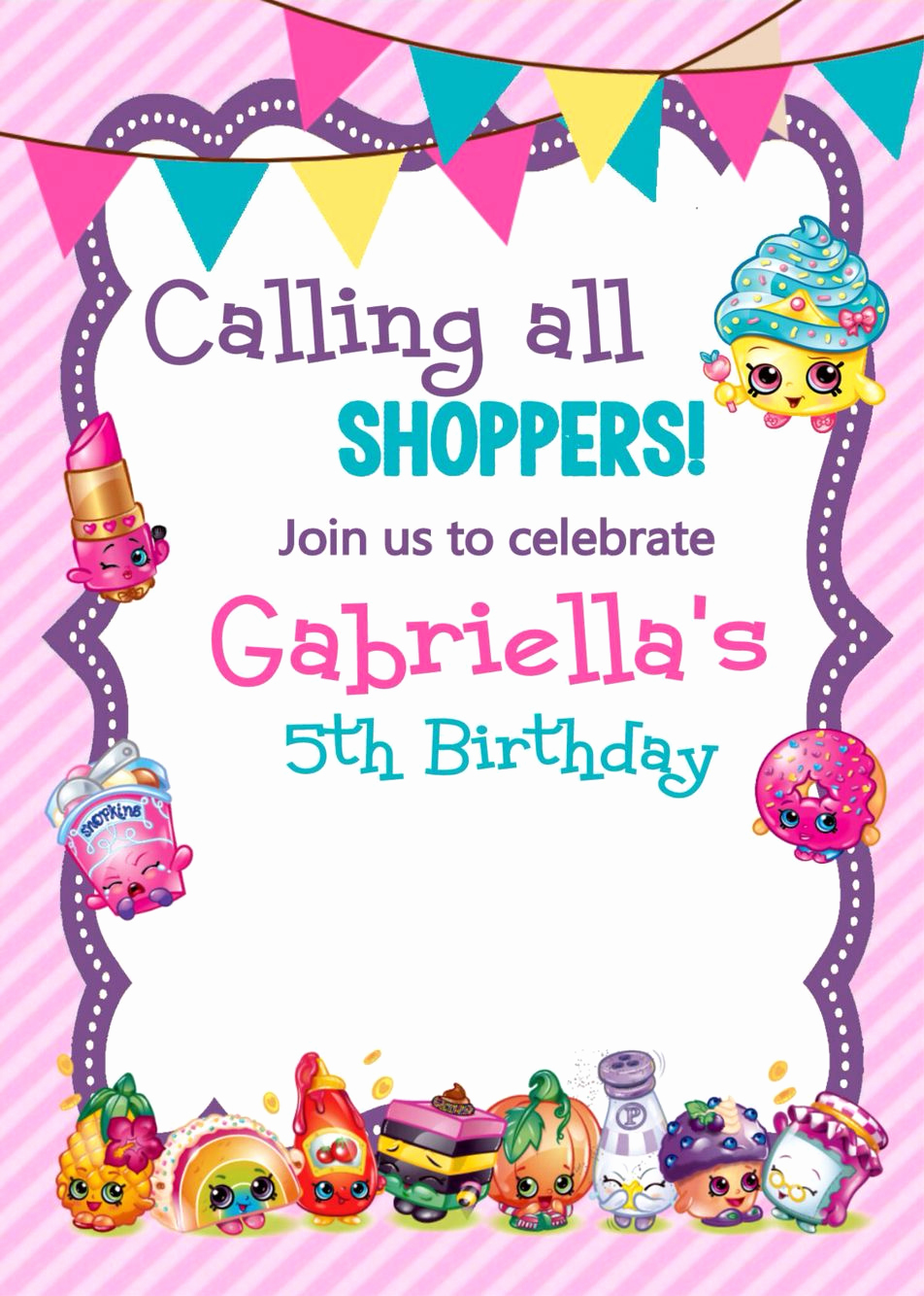 Shopkins Birthday Invitation Template Free Luxury Adorable Shopkins Printable Invitations Via Etsy