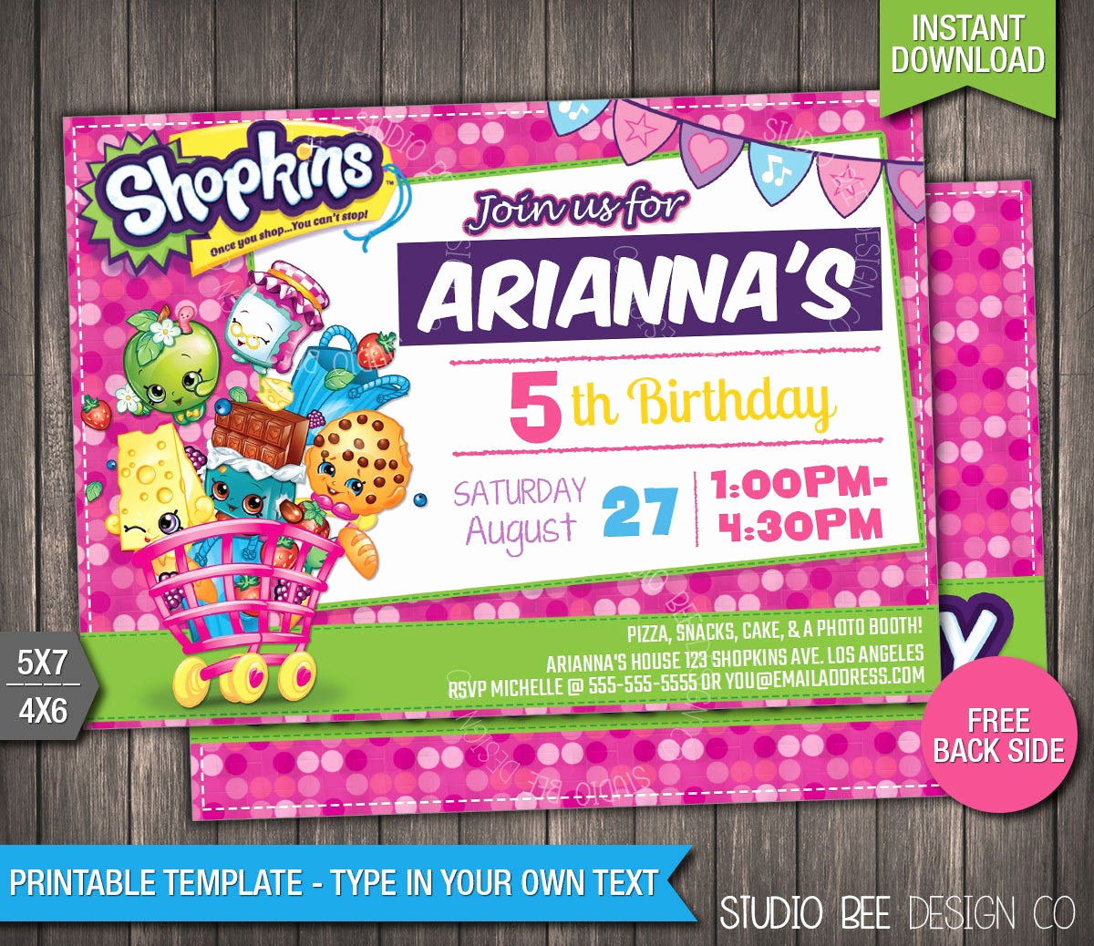 Shopkins Birthday Invitation Template Free New Off Shopkins Birthday Invitation Instant by
