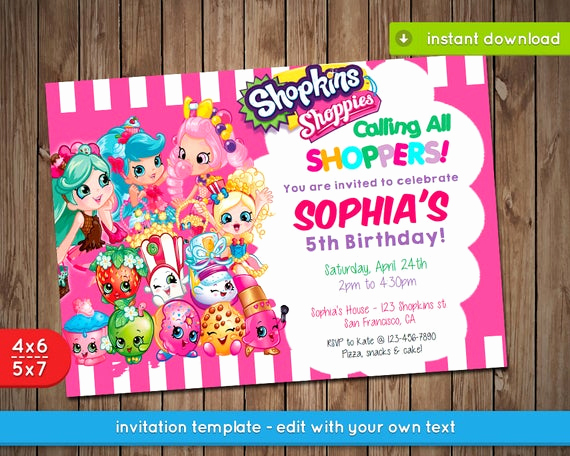 Shopkins Birthday Invitation Template Free New Shopkins Invitation Printable Birthday Party Invite