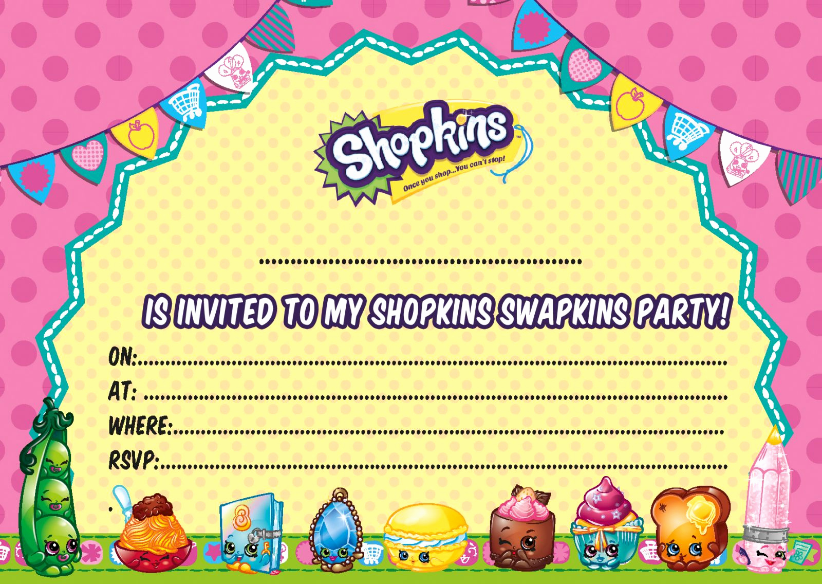Shopkins Birthday Invitation Template Free New Updated – Free Printable Shopkins Birthday Invitation