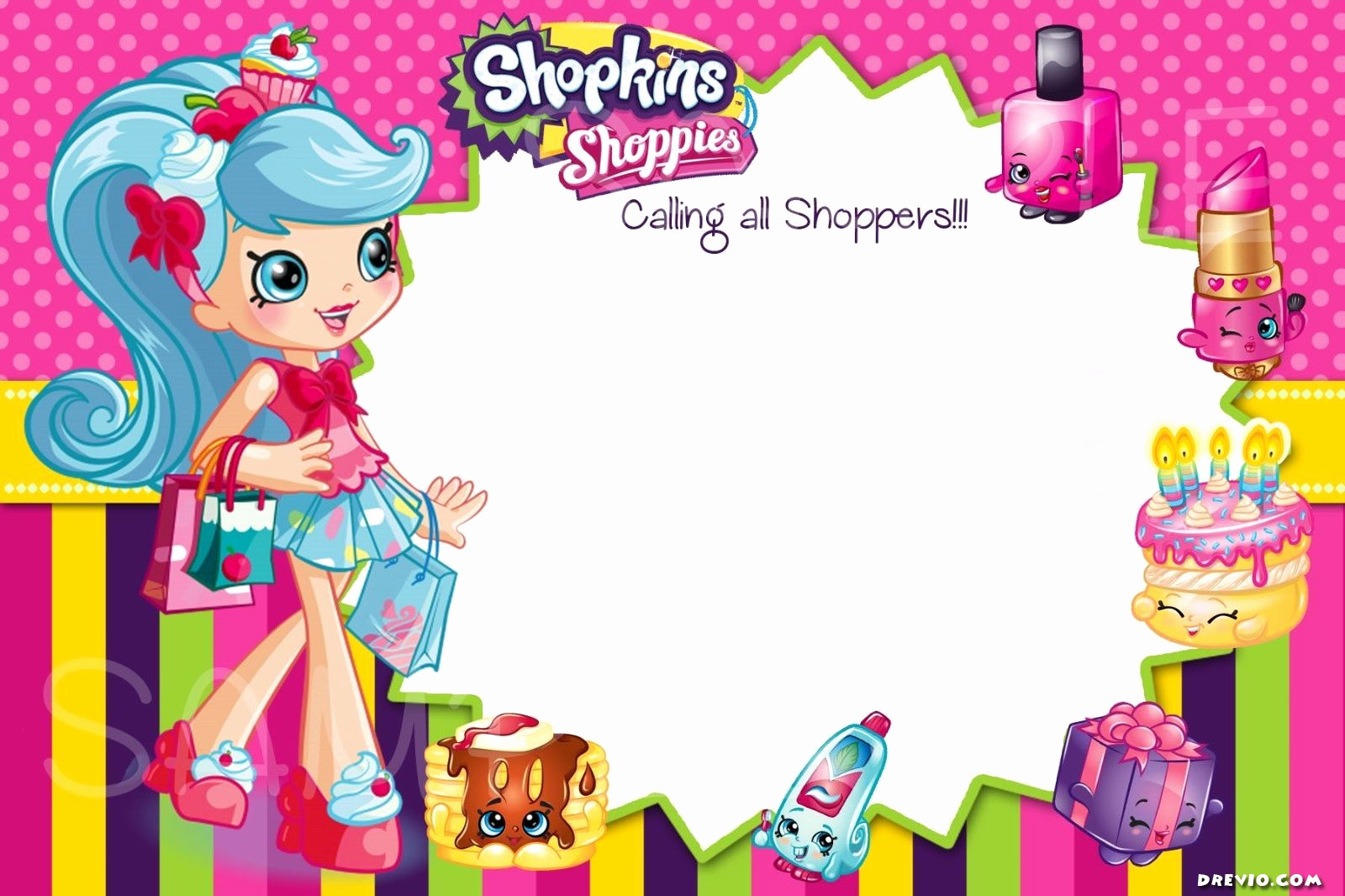 Shopkins Birthday Invitation Template Free Unique Download now Updated Free Printable Shopkins Birthday