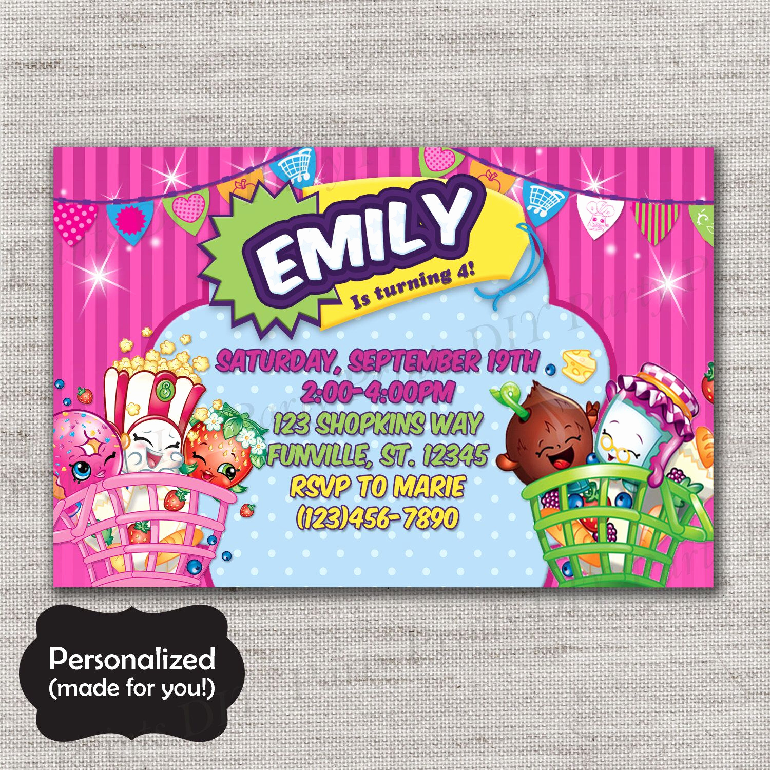 Shopkins Birthday Invitation Template Lovely Pin by Stephanie Livesay On Shopkins 6th Birthday Party