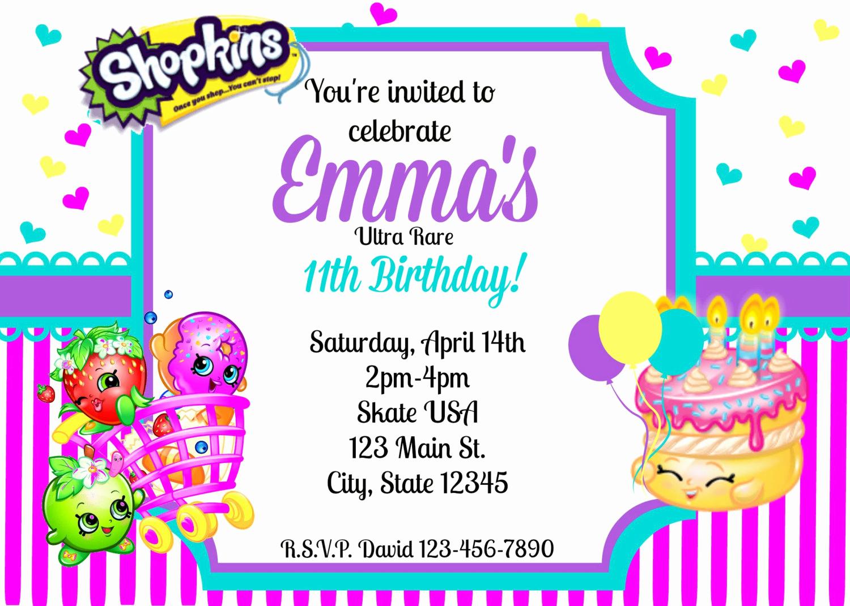 Shopkins Birthday Invitation Template Lovely Shopkins Invitation Shopkins Party Invitation by