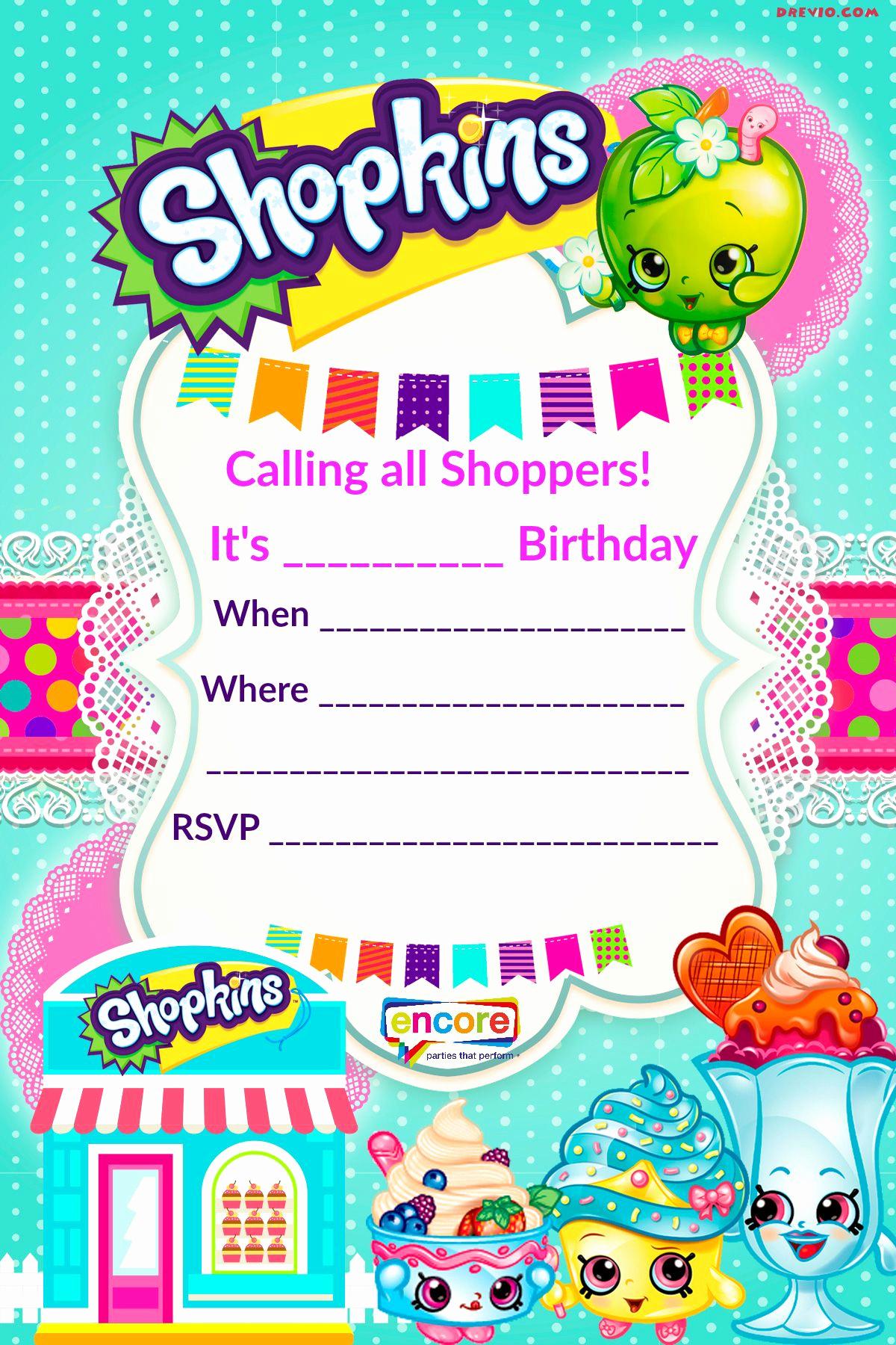 Shopkins Birthday Invitation Template Lovely Updated Free Printable Shopkins Birthday Invitation