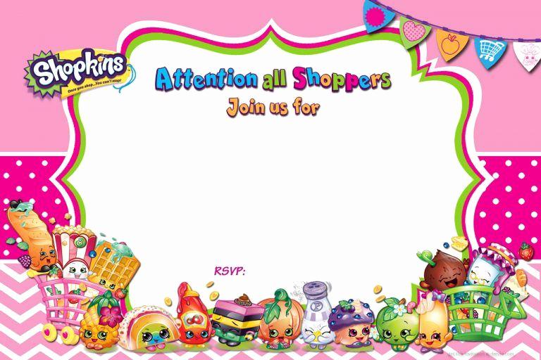 Shopkins Birthday Invitation Template Luxury Free Printable Shopkins Birthday Invitation Template