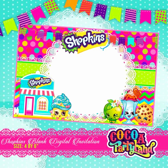 Shopkins Birthday Invitation Template Luxury Shopkins Blank Digital Invitation Printable by Cocoaparty
