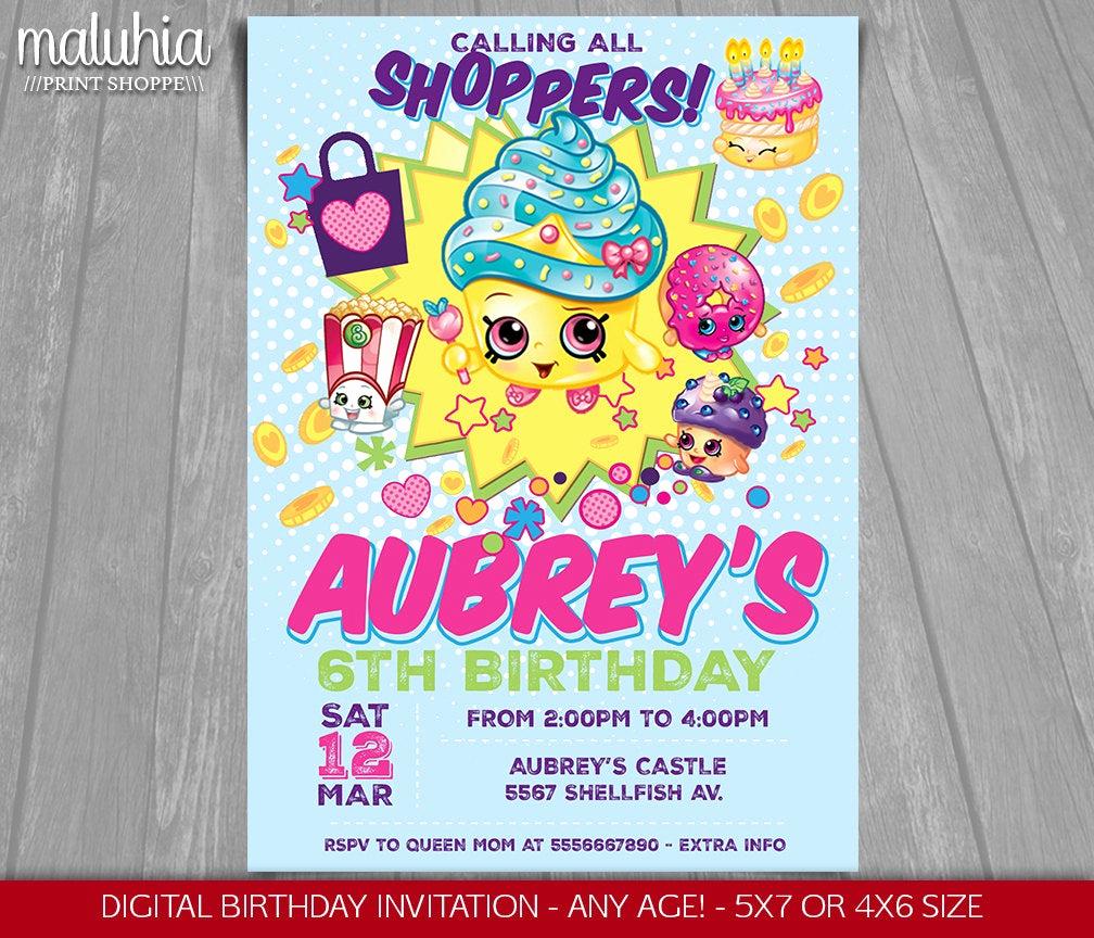 Shopkins Birthday Invitation Template Luxury Shopkins Invitation Shopkins Invite Shopkins Birthday