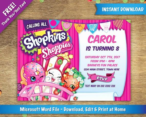 Shopkins Birthday Invitation Template Unique Diy Printable 5x7 Shopkins Birthday Party Invitation