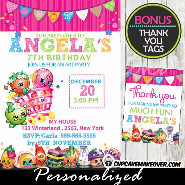 Shopkins Birthday Party Invitation Beautiful Shopkins Birthday Party Invitation Personalized D3