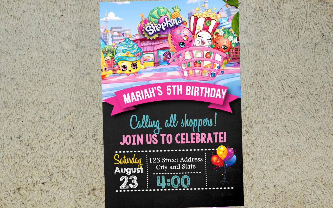 Shopkins Birthday Party Invitation Elegant Shopkins Birthday Invitation Shopkins Invitation by Yolishop03